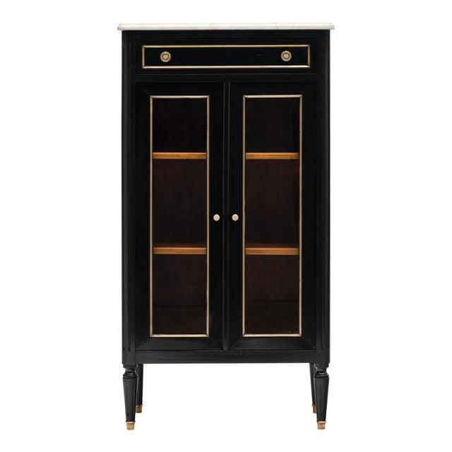 Petite Louis XVI Style Ebonized Mahogany Bookcase For Sale - Image 10 of 10