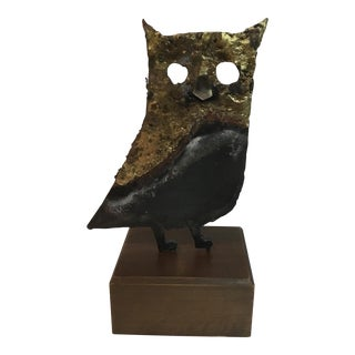 Vintage Brutalist Owl Statue on Wooden Stand For Sale