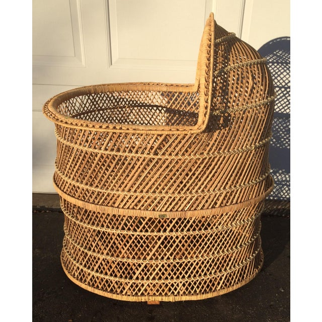 Bohemian Wicker Bassinet For Sale In Milwaukee - Image 6 of 11