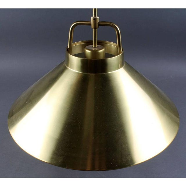 Danish Modern Adjustable Danish P 295 Brass Hanging Lamp by Frits Schlegel for Lyfa, 1960s For Sale - Image 3 of 8