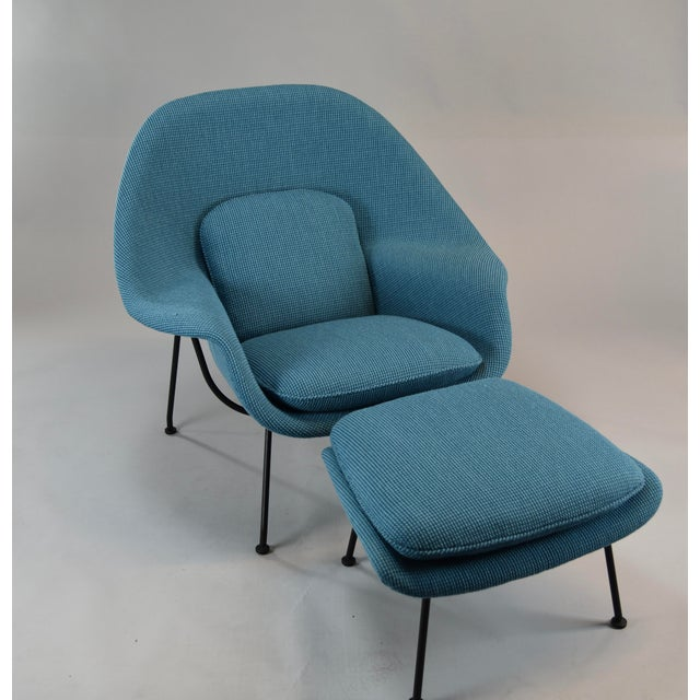 Fabric Womb Chair and Ottoman in Cato Blue Knoll Fabric For Sale - Image 7 of 8