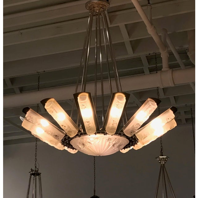 French Art Deco Starburst Chandelier by Degué For Sale - Image 9 of 13
