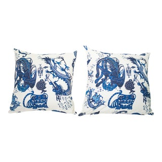 Chinoiserie Design Legacy Blue and White Dragon Print For Sale