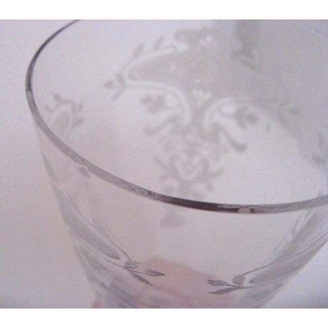 Early 20th Century Vintage Etched Glasses, Set of 6 For Sale - Image 5 of 6