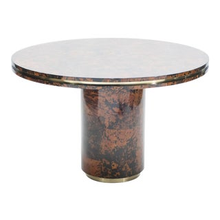 1970s Italian Dining Table Brass Tortoise Shells by Ottini Milano For Sale