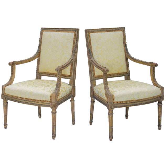 Pair of Early 19th Century Louis XVI Fauteuils For Sale