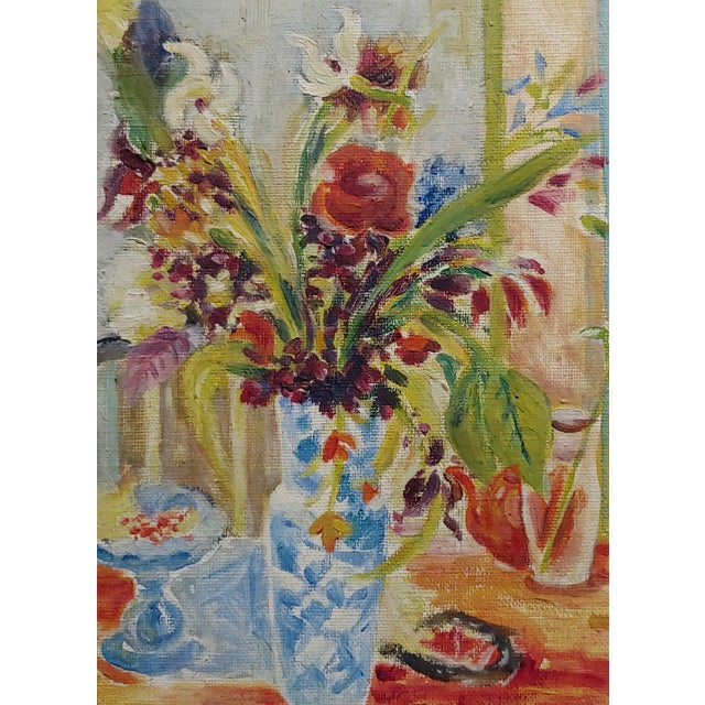 Figurative Jules Cavailles -Still Life of Flowers and a Mask -Study Oil Painting-1956 For Sale - Image 3 of 10