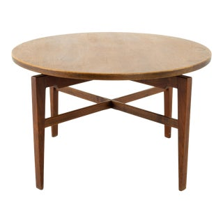 """1960s Jens Risom """"Lazy Susan"""" Mid Century Walnut and Brass Revolving Card Table For Sale"""