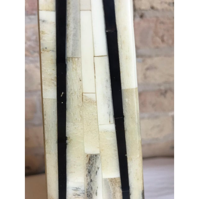 Mid-Century Modern Maitland Smith Tessellated Bone Obelisks-a Pair For Sale - Image 3 of 5