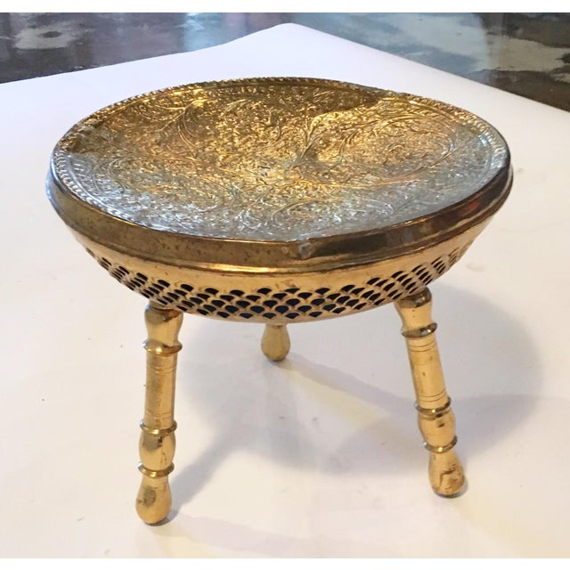 Vintage Brass Moroccan Stool - Image 5 of 5