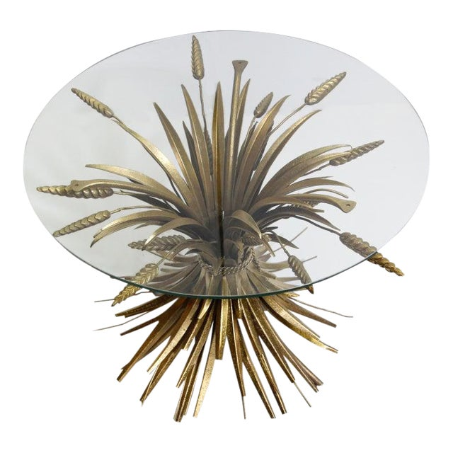 Vintage French Metal Sheaf of Wheat Side Table with Glass Top For Sale