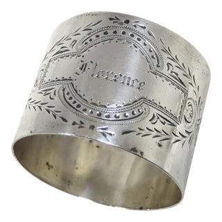Antique American Victorian Coin Silver Napkin Ring For Sale