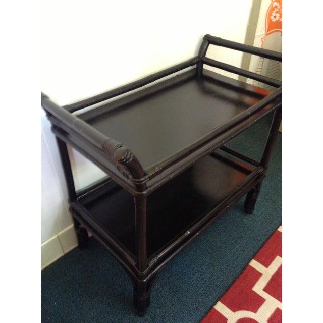 Asian Black Rattan Bar Cart Server For Sale - Image 3 of 7