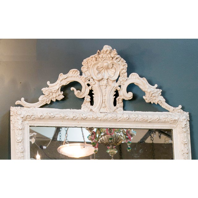 Rococo Glamorous Creamy-White Over-Painted Rococo Hand-Carved Wood Mirror, circa 1900 For Sale - Image 3 of 5