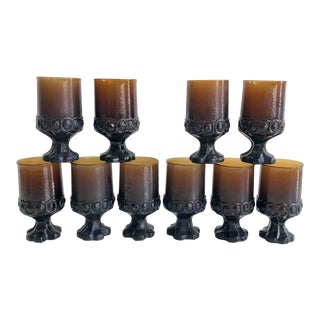 Set of 10 Vintage Chocolate Brown Water Goblets 1970s