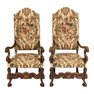 Dutch Hand Carved Walnut Wood High Back Side / Armchairs - A Pair For Sale