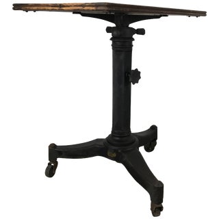 Telescopic Cast Iron and Wood Table/Stand Karl Manufacturing Co. For Sale