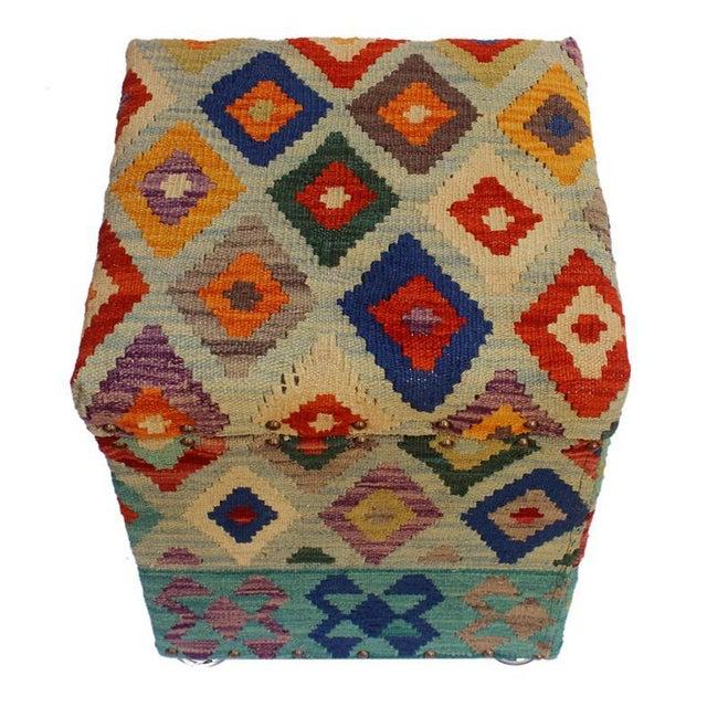 2010s Cristina Lt. Blue/Blue Kilim Upholstered Handmade Storage Ottoman For Sale - Image 5 of 8
