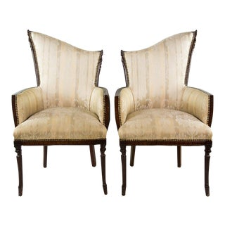 Hollywood Regency Asymmetrical Arm Chairs - a Pair