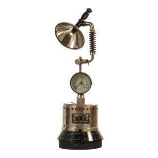 Industrial Table Lamp with LED Lighting and Clock For Sale