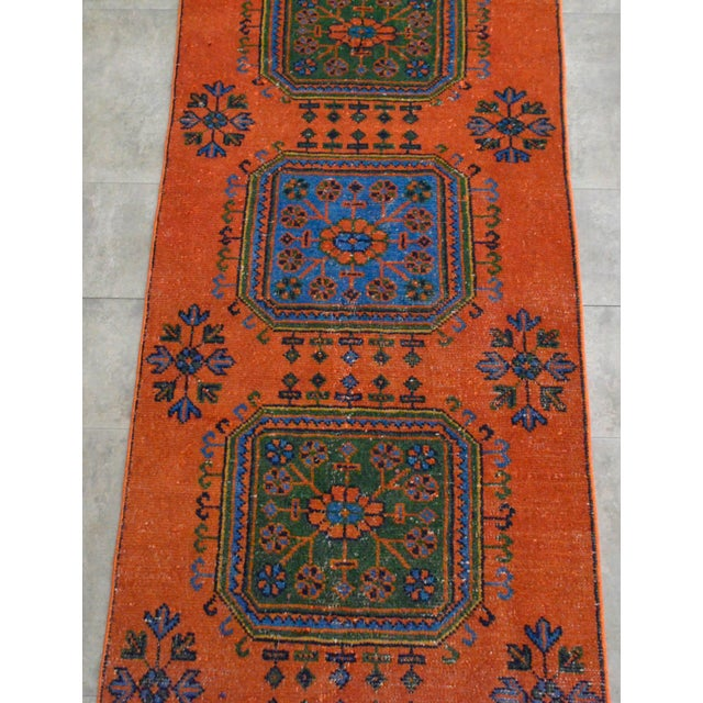 "Distressed Oushak Rug Runner - 3'1"" x 11'4"" - Image 6 of 10"
