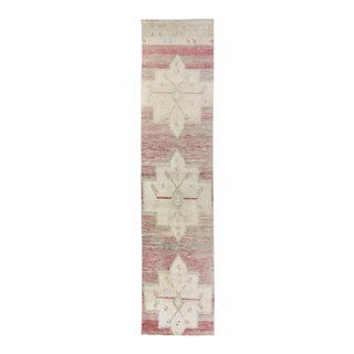 """1960s Vintage Oushak Faded Red Beige Wool Hand-Knotted Runner - 2'4.5"""" X 10'4"""" For Sale"""