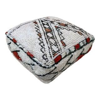 Square Handwoven Woolen Pouf Case For Sale