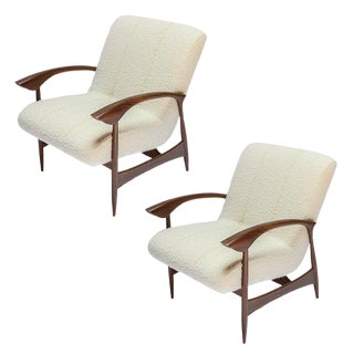 Custom Walnut Armchairs in Ivory Boucle - a Pair For Sale