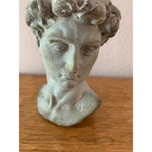 Concrete Modern Cast Composite Concrete Stone Face Planter Head Vessel Vase For Sale - Image 7 of 13