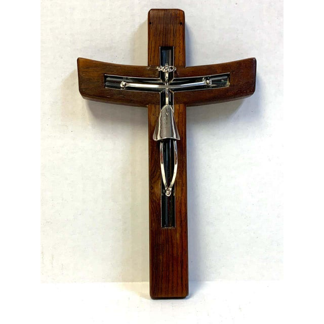 Mid-century modern Taxco sterling and mahogany crucifix, modern and sculptural.