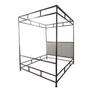 Henredon Furniture Jeffrey Bilhuber Hammered Metal Bank St King Canopy Bed For Sale