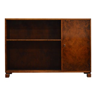 Swedish Art Deco Functionalist Flame Birch Cabinet Bookcase For Sale