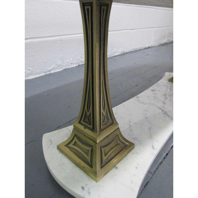 Italian Marble and Brass Oval Top Coffee Table - Image 6 of 6