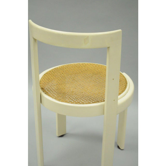 Vintage Thonet Style Italian Mid-Century Modern Round White Cane Seat Side Chair - Image 6 of 10