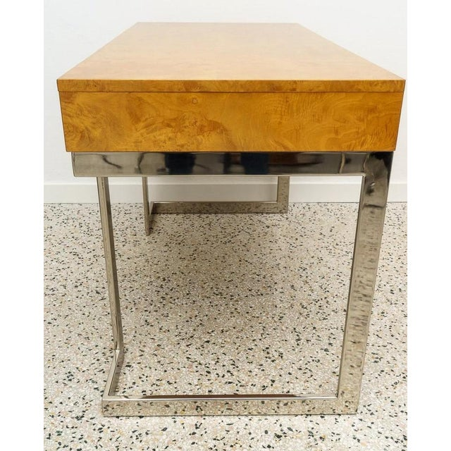 Burlwood and Nickel Writing Desk by Milo Baughman For Sale - Image 10 of 12