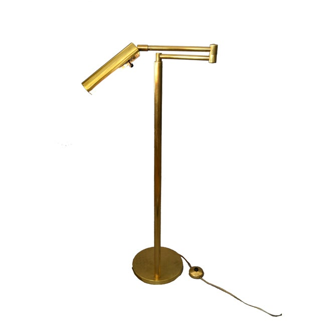 1970s Italian Brass Swing Arm Floor or Reading Lamp For Sale - Image 5 of 13