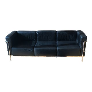 Mid-Century Modern Style Black Leather and Chrome Sofa For Sale