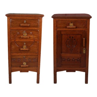 1960s Asian Teak Nightstands - a Pair For Sale