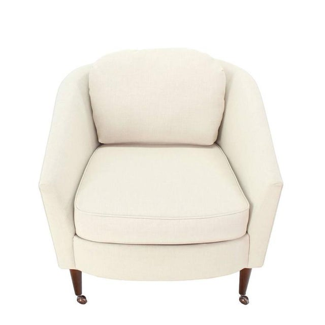 White Pair of Newly Upholstered Mid-Century Modern Barrel Back Chairs For Sale - Image 8 of 8