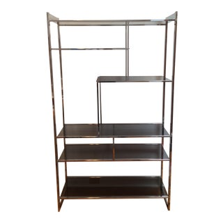 1970s Vintage Modern Chrome and Glass Etagere For Sale