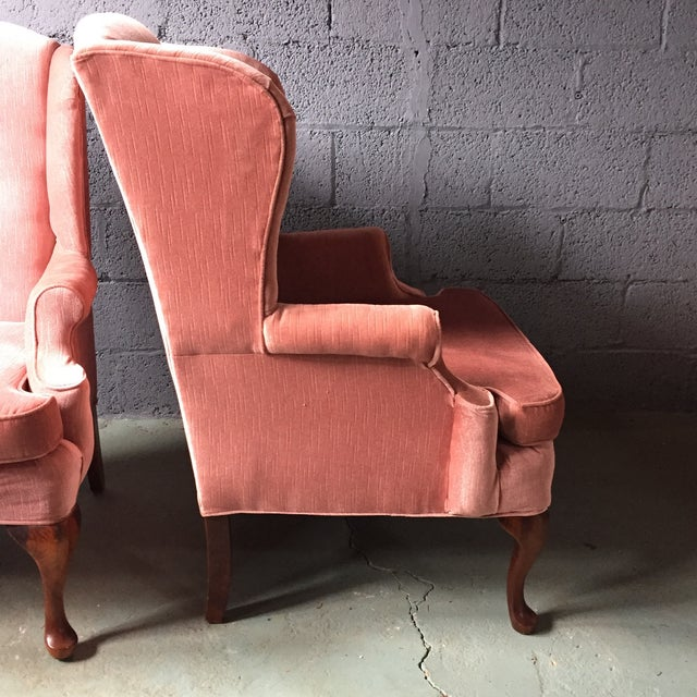 Pink Wingback Armchairs - A Pair For Sale - Image 9 of 11