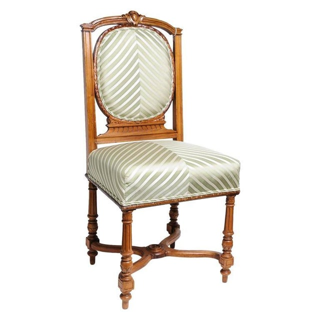 Set of Six English, Edwardian Style Dining Side Chairs with Green Upholstery Fabric - Image 2 of 10
