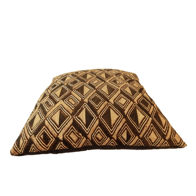 Superb /elegant large African Kuba pillow with delicate embroidered geometric design made of raffia from a palm tree....