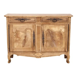 Early 19th Century French Country Louis XV Style Bleached Cherry Buffet For Sale