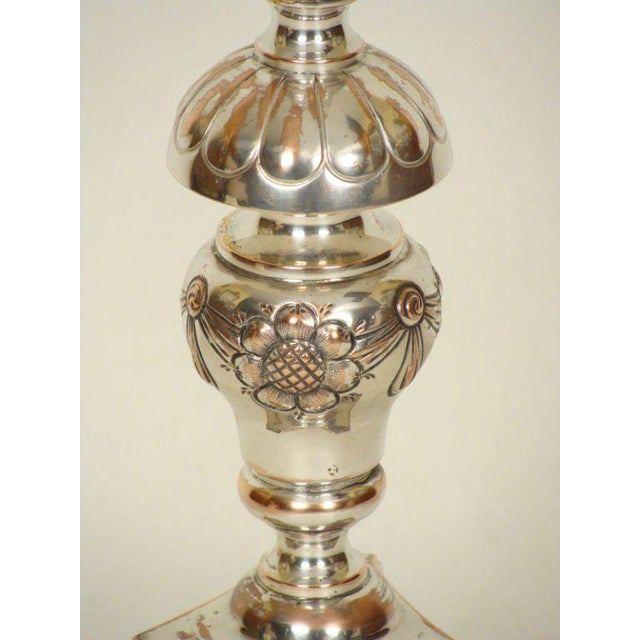 Silver on Copper Altar Stick Lamp For Sale - Image 4 of 6