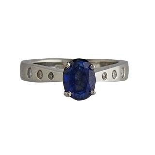 Platinum Sapphire and Diamond Designer Ring For Sale
