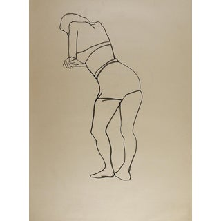 1950's Line Drawing Womans Figure Study For Sale