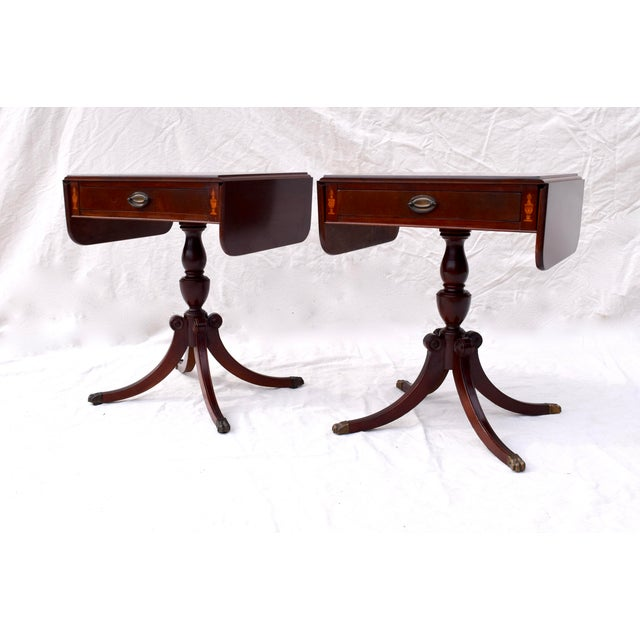 Mahogany Pembroke Tables With Inlay Detail, Pair For Sale In Philadelphia - Image 6 of 13