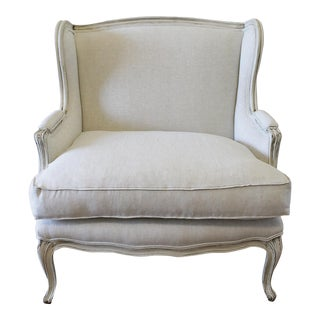 French Provincial Linen Wing Back Style Chair For Sale