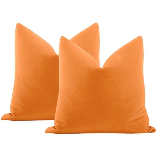 """Not Yet Made - Made To Order 22"""" Hermes Orange Italian Velvet Pillows - a Pair For Sale - Image 5 of 5"""